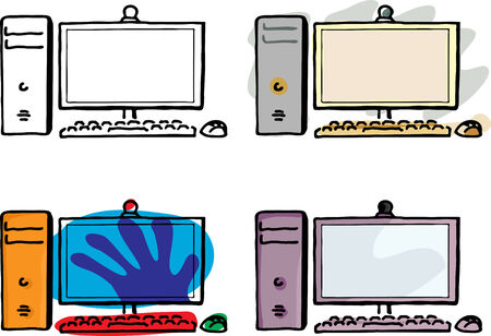 Four variations of a desktop computer with wireless keyboard and mouse. Vector