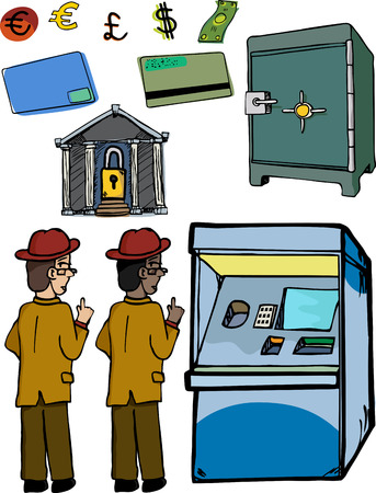 Varied skin tone versions of man looking over his shoulder as he cautiously accesses an automated teller machine. Includes other banking related images. Vector