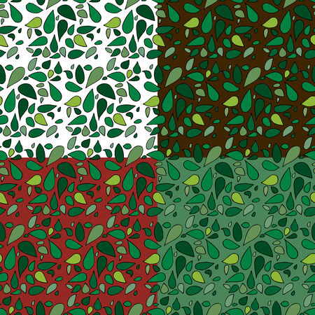 Set of four seamless leafy backgrounds for stationery or wrapping paper. EPS version contains swatches for each pattern.