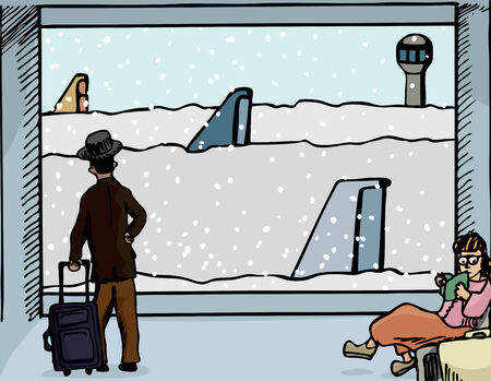 Scene of a man and woman at an airport departure gate with airplanes covered in deep snow.