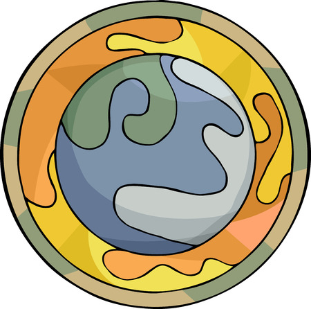 Illustration of the planet Earth and the trapped greenhouse gases in meso-American style and composition. Vector