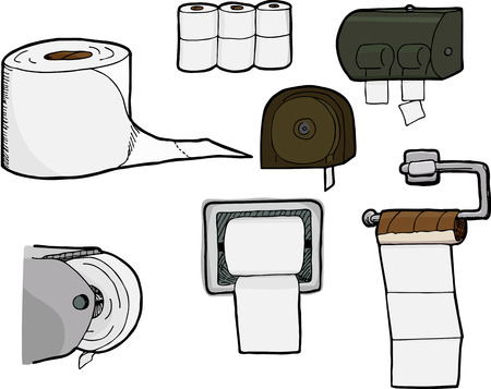 Set of 7 isolated, hand-drawn rolls of bathroom tissue and toilet paper dispensers.  Illustration