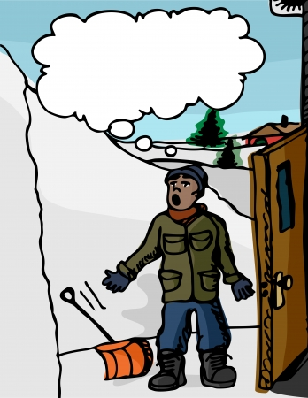 circundante: Man with shovel surprised with a giant snowdrift surrounding his home.