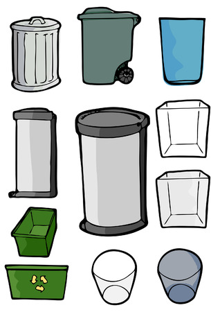 Drawings of various cans and bins used for trash, garbage and recycling purposes.