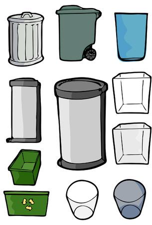 canecas de basura: Dibujos de varias latas y bandejas utilizados para basura, basura y reciclaje de fines.