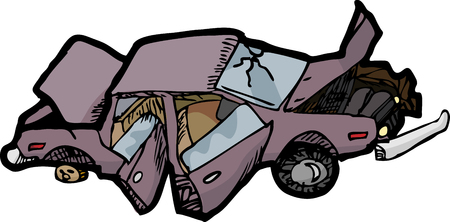 Cartoon of a wrecked automobile with a broken windshield.