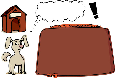 Illustration of a small dog with thought bubble, his kennel and a very large bowl of dog food.  Ilustração