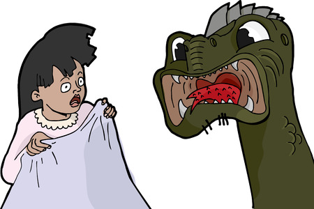 Little girl experiences a nightmare facing a scary monster. Vector