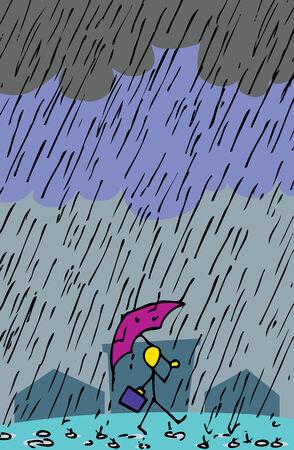 傘、ブリーフケース スティック置物人が元気降りしきる雨の中を歩きます。