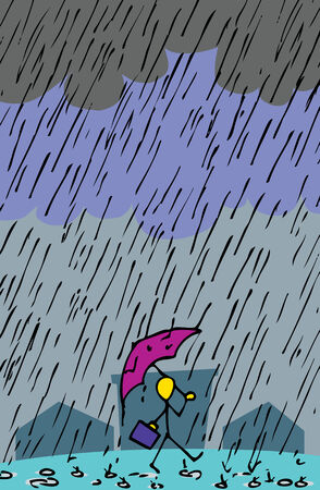 heavy: Stick figurine person with umbrella and briefcase cheerfully walks through pouring rain. Illustration