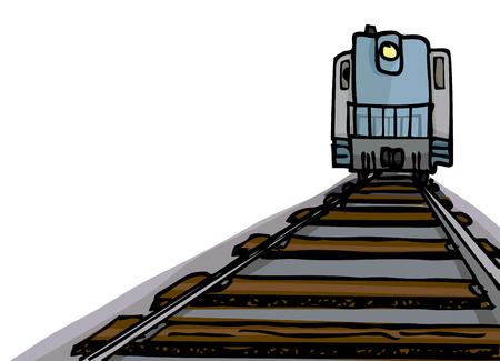 Cartoon of an oncoming diesel locomotive with headlight on tracks. Illustration