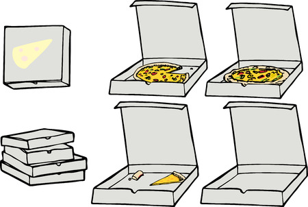 eaten: Cartoon illustrations of multiple isolated pizza related elements for any use.