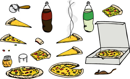 leftovers: Cartoon illustrations of multiple isolated pizza related elements for any use.