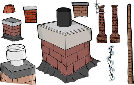 Negen verschillende schoorsteen illustraties met rook stream en antenne versies.