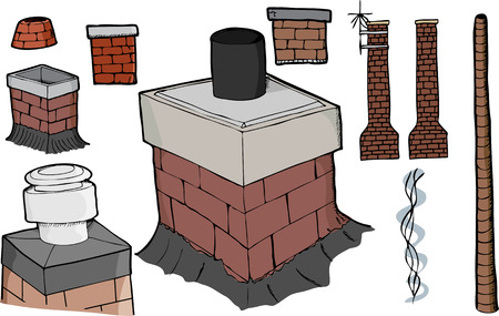 Nine various chimney illustrations with smoke stream and antenna versions. Illustration