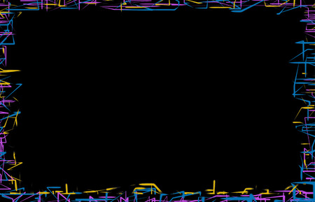 stationery background: Frame of random blue, yellow and purple neon lines on black background
