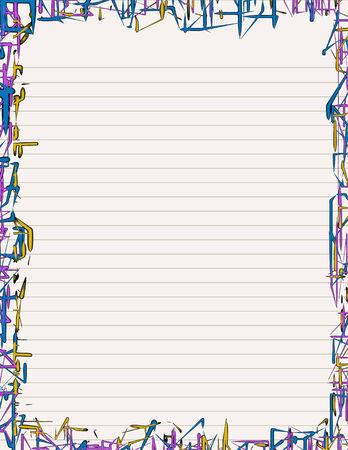 レター サイズの用紙のネオンのようなボーダーと文房具が並ぶ
