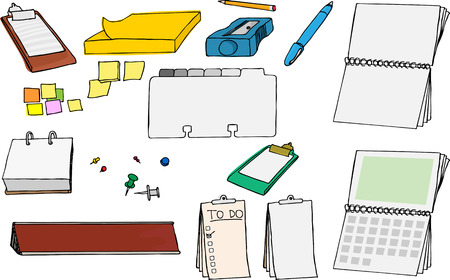 Assortment of various office and school supplies with blank sections to add your own content. Stock Vector - 8859238