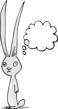 nerdy: Lazy-eyed rabbit standing with a thought cloud.