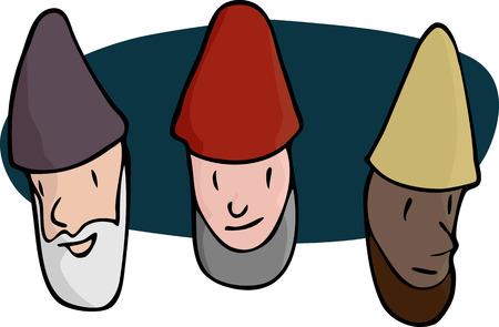 gnomos: Retratos de tres gnomos barbudos, asistentes o religiosos en varios colores de piel.