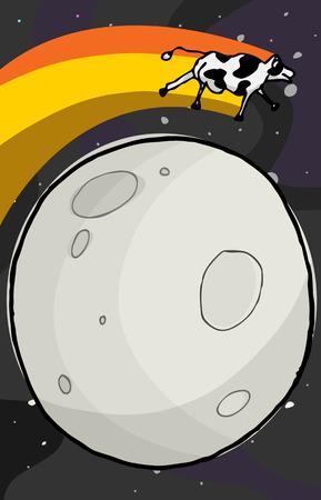 melkachtig: Happy cow sprongen over de maan met de Melkweg in de achtergrond. Stock Illustratie