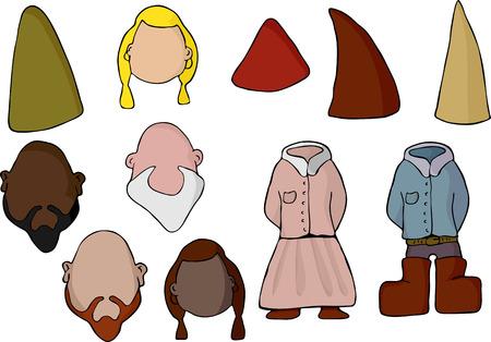gnomos: Llenar en su propia cara con este conjunto de diversos gnomos masculinos y femeninos o elfos.