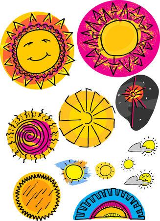 공간, 하늘과 일몰에서 12 태양 삽화의 집합입니다.