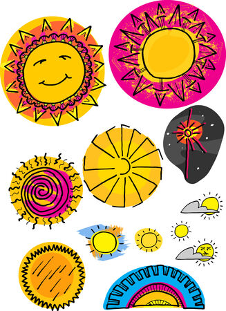 Set of 12 sun illustrations from space, the sky and sunset.
