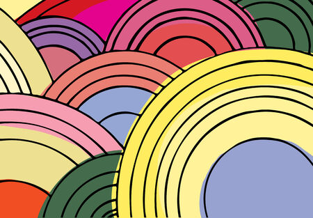 1970s style spiral circle shapes, lines and color background design in floral hue.