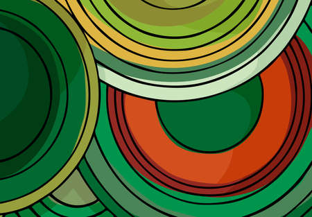 Stacked spiral circle-shaped color background design in landscaping hues.