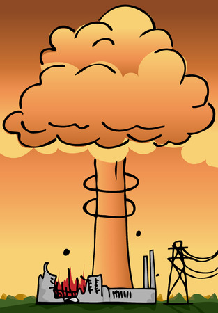 Hydrogen explosion plume rises from a nuclear power plant Stock Vector - 9120341