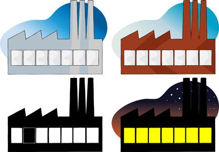 powerplant: Vier variaties van een zijaanzicht van een fabriek of een elektriciteitscentrale