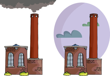 Cartoon of a small power plant or factory with smoke, tall smokestack and sky background variation. Illustration