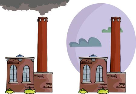 Cartoon van een kleine energiecentrale of fabriek met rook, hoge schoorsteen en hemel achtergrond variatie. Stock Illustratie