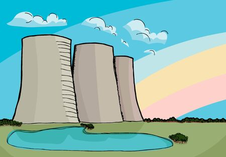 Three nuclear power plant cooling towers with rainbow and reflecting lake. Illustration
