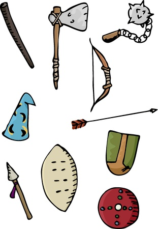 Set of ten ancient European and African weapons Illustration