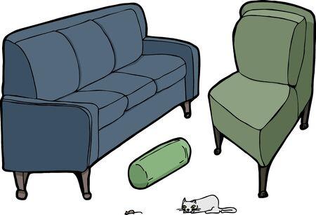 Sofa, kussen, lounge stoel met kat en muis voor het huis. Stock Illustratie