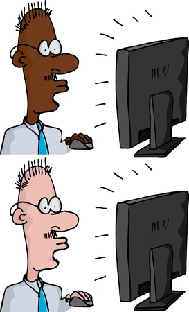 computer screen: Two versions of a businessman with mouse in front of a computer monitor