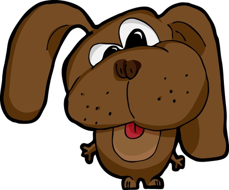 Cartoon of a cross-eyed silly dog on white background