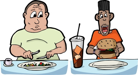 Large man with small salad and skinny man with large burger and soda Vettoriali
