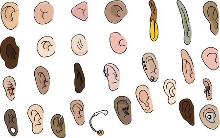 29 diverse human and fantasy ears with pierced and hearing aid versions Vector