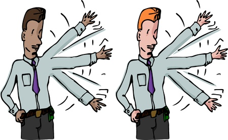 pokey: Two variations of a businessman waving his arm up and down for exercise or to get attention.