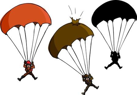 fallschirm: Parachute Jumper mit besch�digten Fallschirm und Silhouette Variationen Illustration