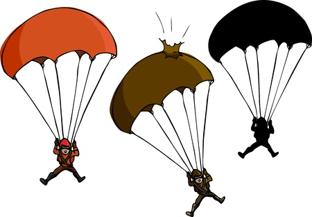 Parachute jumper with damaged parachute and silhouette variations Vector