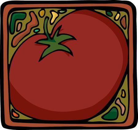 레이블, 아이콘 또는 배경으로 토마토 또는 성분에 대 한 사각형 디자인