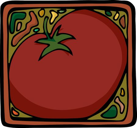 Square design for tomatoes or ingredients as a label, icon or background