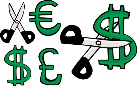 Scissors cuts a symbol of the United States dollar, Euro or British Pound Sterling