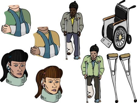 Nine various injury-related illustrations with diverse ethnic representation Vector