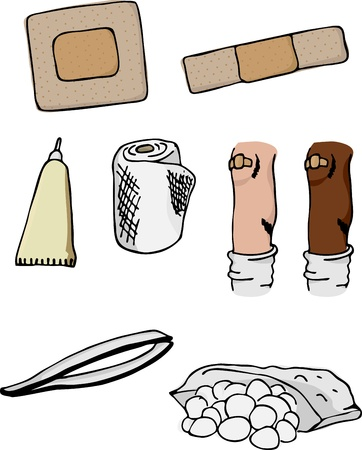 Eight drawings of first-aid supplies and wounded knee in different skin colors. Illustration