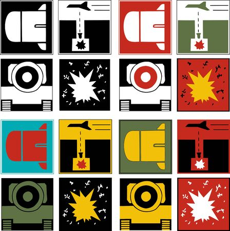 Variations of four war-themed logos with a bomb, airstrike, civilian death and tank Stock Vector - 9453878